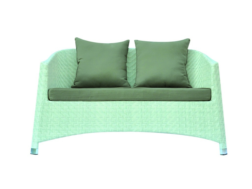 Salotto divanetti da giardino rattan Coffee proff Set DJERBA divano 2 poltrone tavolo cuscini rattan sintetico bianco SET 88
