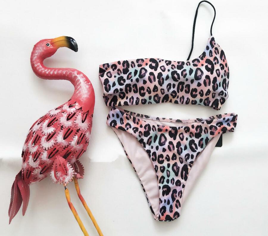 Bikini monospalla animalier