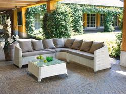 Salottino professionale rattan Coffee Set Djerba divano 2 poltrone tavolo cuscini rattan sintetico bianco set89