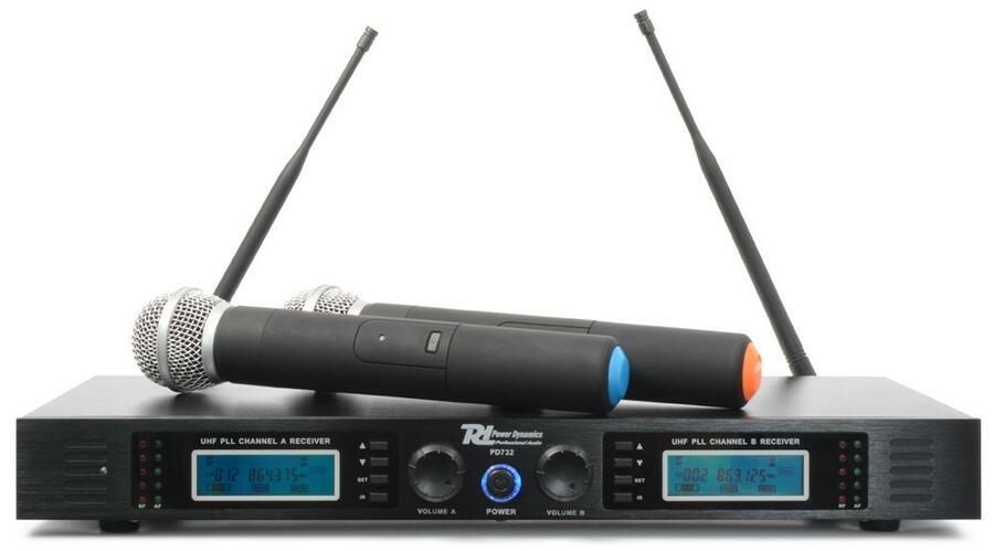 Power Dynamics -  PD732H SISTEMA DI MICROFONI WIRELESS UHF 2X 16 CANALI TRUE DIVERSITY CON 2 MICROFONI