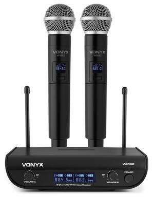 Vonyx - WM82 SET MICROFONICO WIRELESS DIGITALE UHF A 2 CANALI CON 2 PALMARI