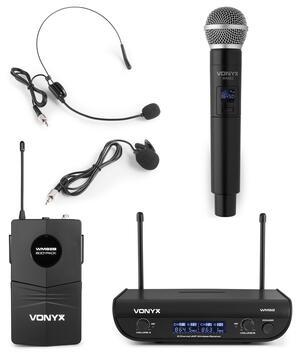 Vonyx - WM82C SET MICROFONICO WIRELESS DIGITALE UHF A 2 CANALI CON PALMARE E BODYPACK