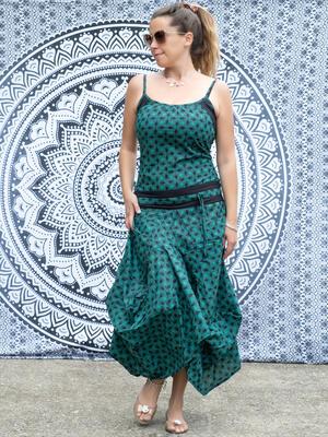 Vestito donna lungo Nandita con gonna a sacca - verde acqua