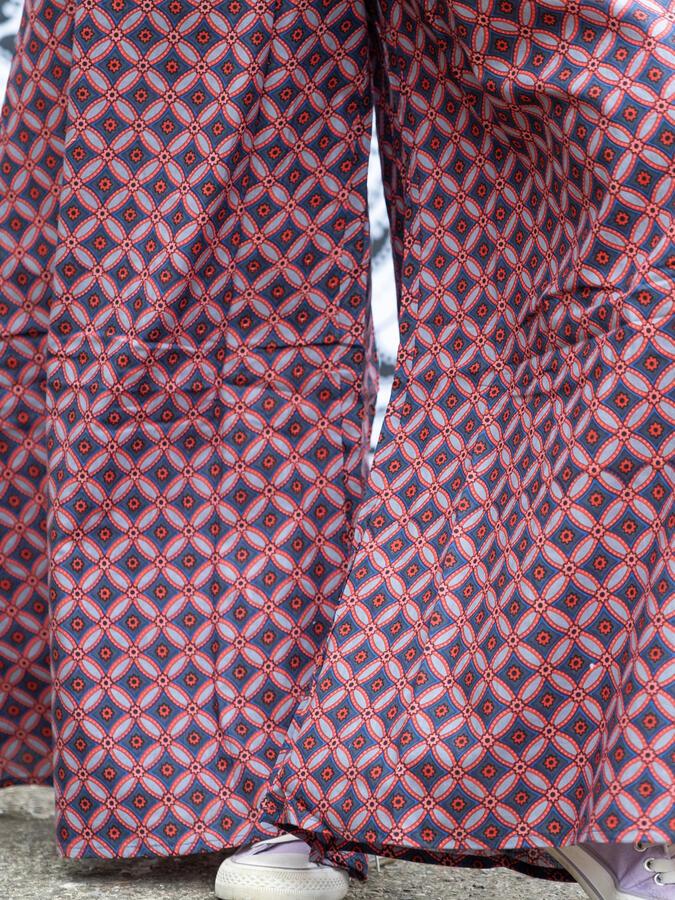 Vestito tuta donna lungo Savitri pantalone a palazzo - cerchi rosso blu