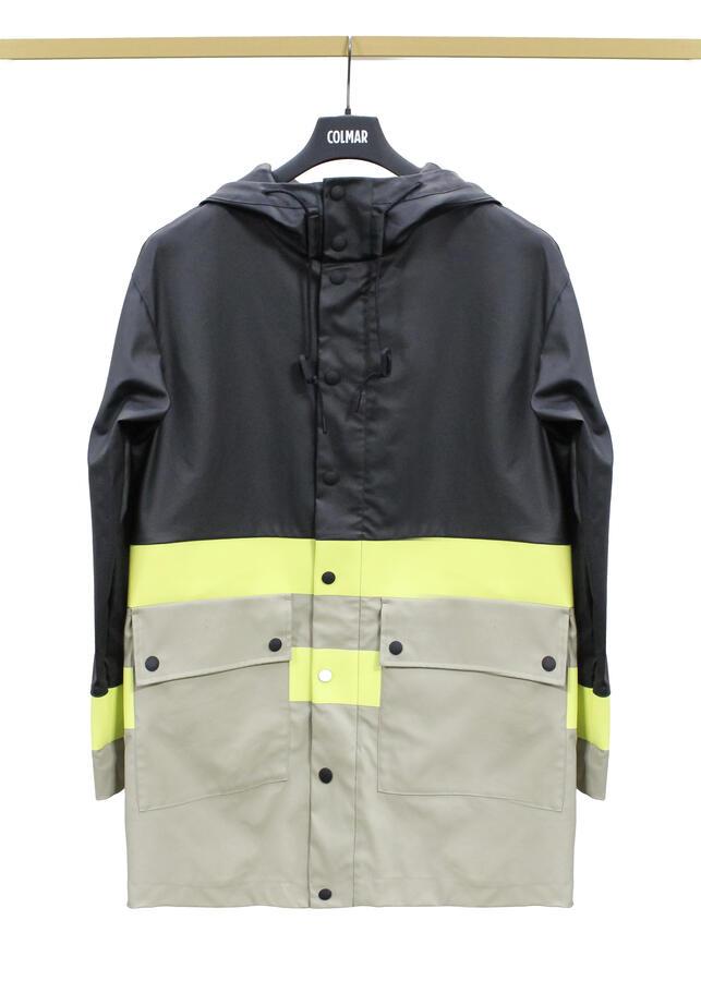 Trench giaccone Colmar in gomma nero-beige taglia 46 primaverile 1816-5TH/99