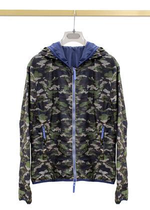 Giubbino AT.P.CO mimetico camouflage dettagli blu primaverile da uomo A183RON515