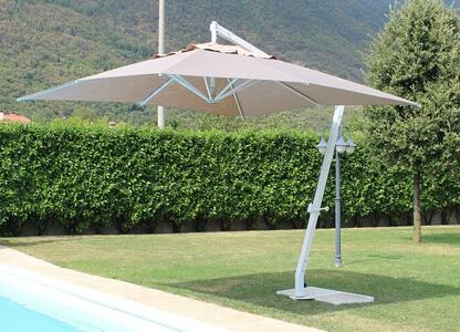 Ombrellone da giardino PEGASOS palo bianco telo tortora misura 3 x 4 professionale