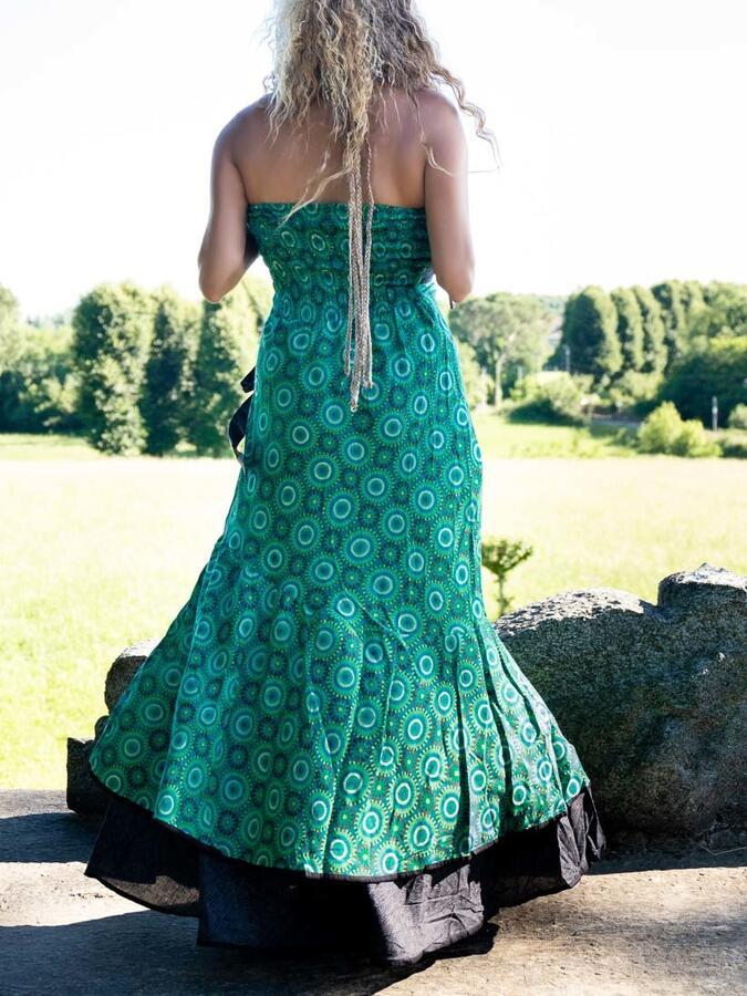 Vestito donna autoreggente Shanti - bicolor geometrico verde / grigio scuro