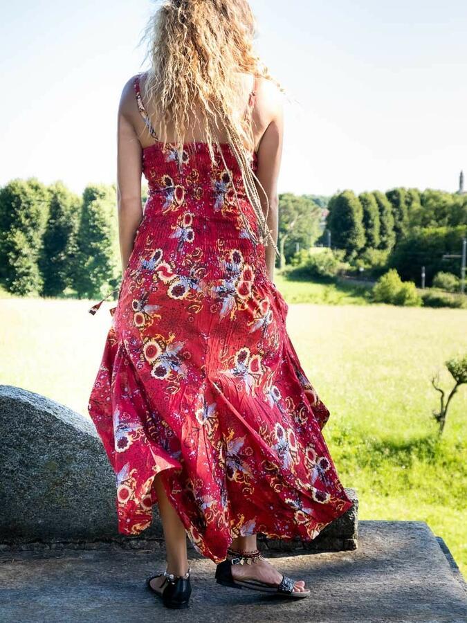 Vestito donna lungo Nandita con gonna a sacca - fiorato rosso