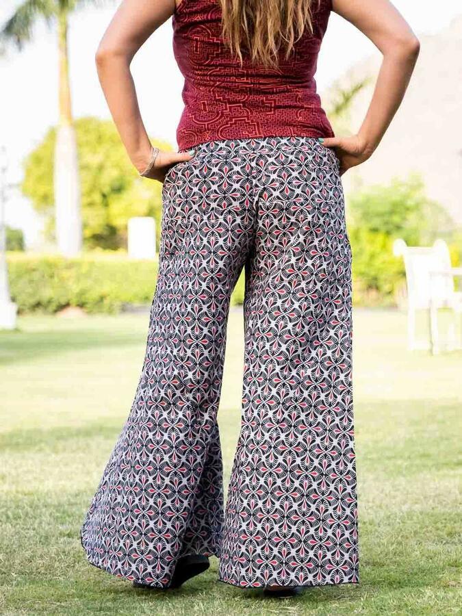 Pantalone donna lungo Ekta gamba larga - grigio chiaro e rosso