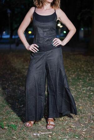 Vestito tuta donna lungo Sapna pantalone a zampa - grigio scuro