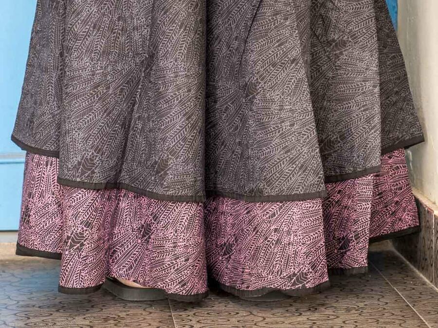 Vestito donna autoreggente Shanti - bicolor grigio scuro / viola