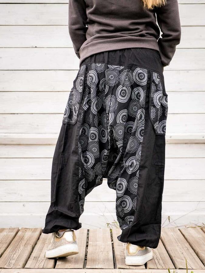 Pantalone donna aladino Maya - nero grigio