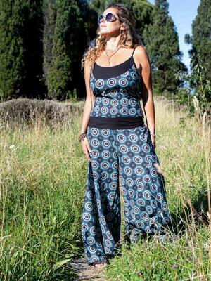 Vestito tuta donna lungo Sapna pantalone a zampa - geometrico turchese
