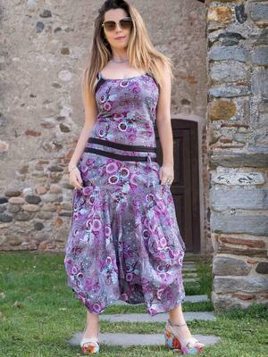 Vestito donna lungo Nandita con gonna a sacca - fiorato lilla