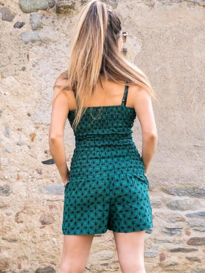 Jumpsuit donna corto con cintura Kalpana - geometrico verde acqua