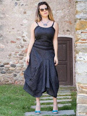 Vestito donna lungo Nandita con gonna a sacca - grigio scuro