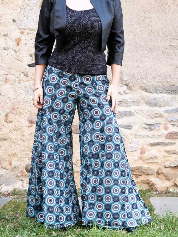 Pantalone donna lungo Ekta gamba larga - turchese