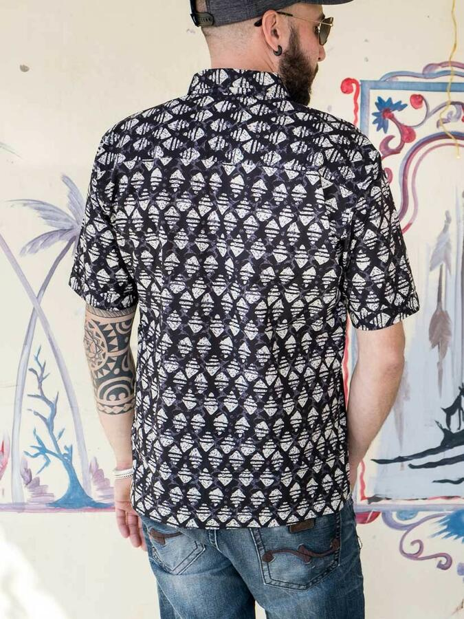 Camicia uomo Budhil manica corta - etnica bianco nero