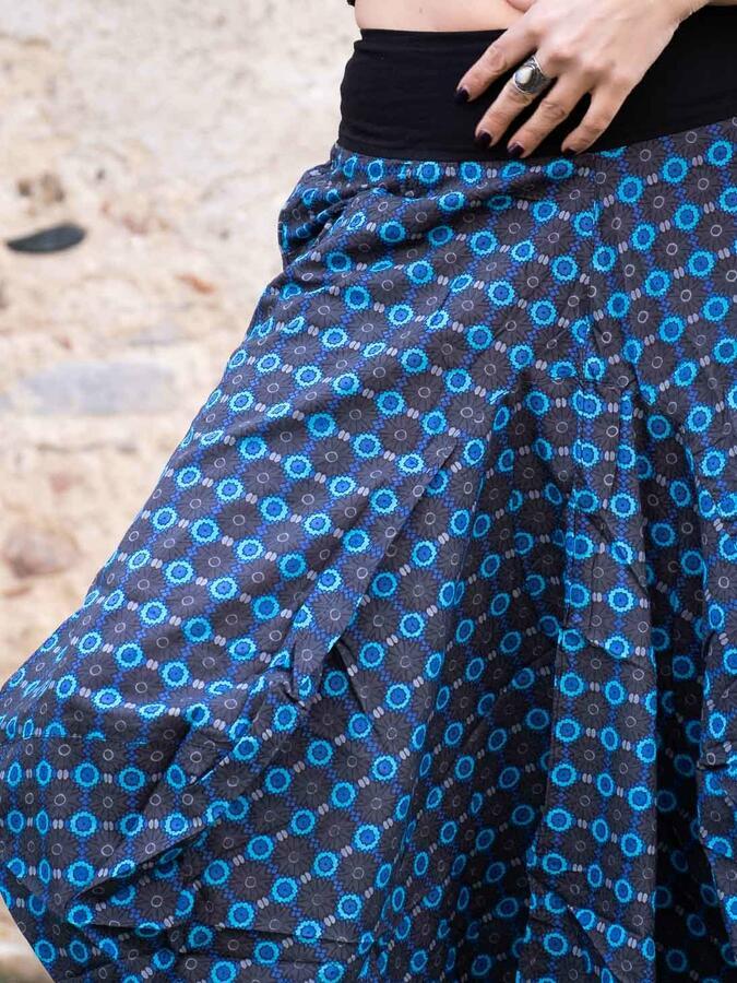 Gonna lunga Dhara a sacca - fiorato blu