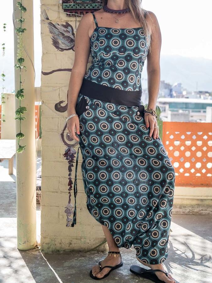 Vestito tuta donna lungo Vaishali pantalone cavallo basso - turchese