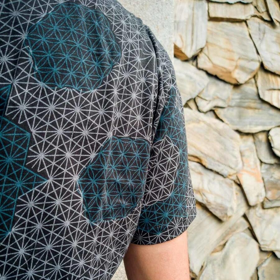 T-shirt uomo Ashok stampa serigrafica - fiore della vita nero e blu
