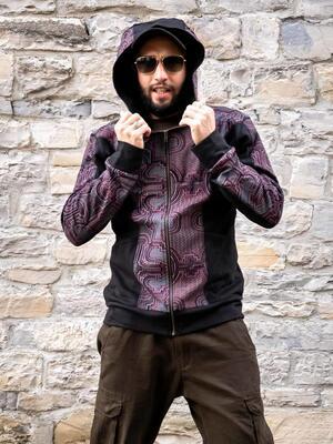 Felpa uomo Nandish con zip e cappuccio - nera e rossa