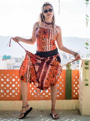 Vestito tuta donna lungo Vaishali pantalone cavallo basso - etnico arancione