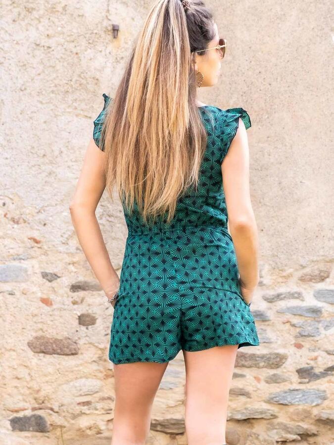 Vestito tuta donna corto Deepa con elastico in vita - verde acqua
