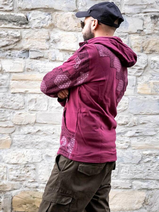 Felpa uomo Mayur chiusura zip e cappuccio - patchwork bordeaux