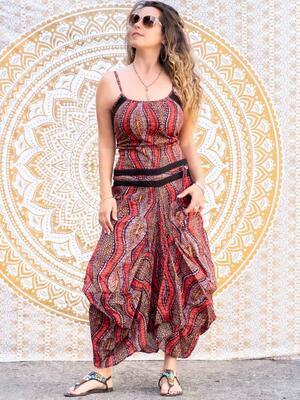 Vestito donna lungo Nandita con gonna a sacca - cerchi rosso