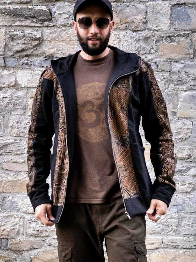 Felpa uomo Nandish con zip e cappuccio - nero senape