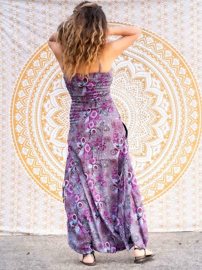 Vestito tuta donna lungo Vaishali pantalone cavallo basso - fiorato lilla