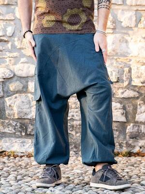 Pantalone uomo lungo Praney cavallo basso - blu petrolio