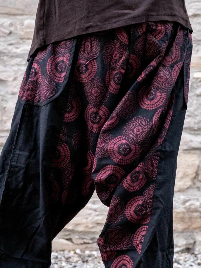Pantalone donna aladino Maya - nero rosso