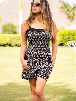 Jumpsuit donna corto con cintura Kalpana - rombi grigio nero