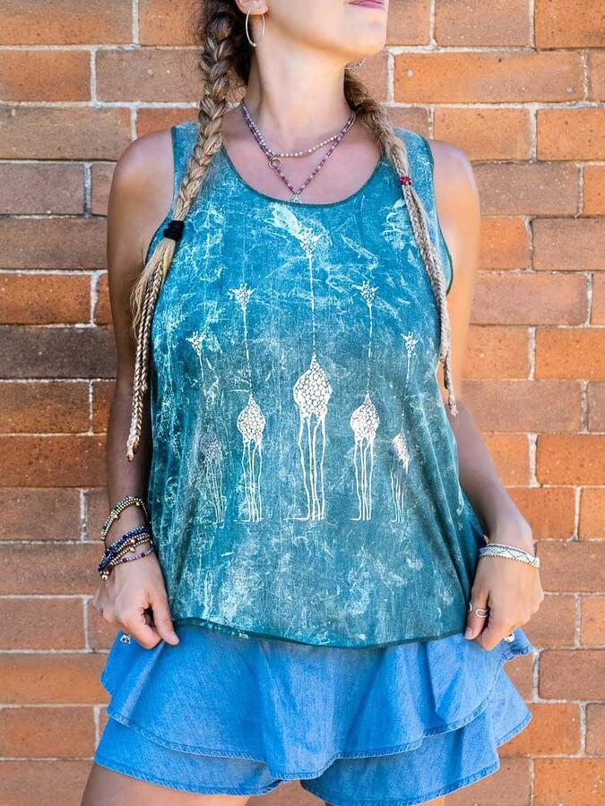 Canottiera donna Ramita verde lavato con stampa argento - giraffe