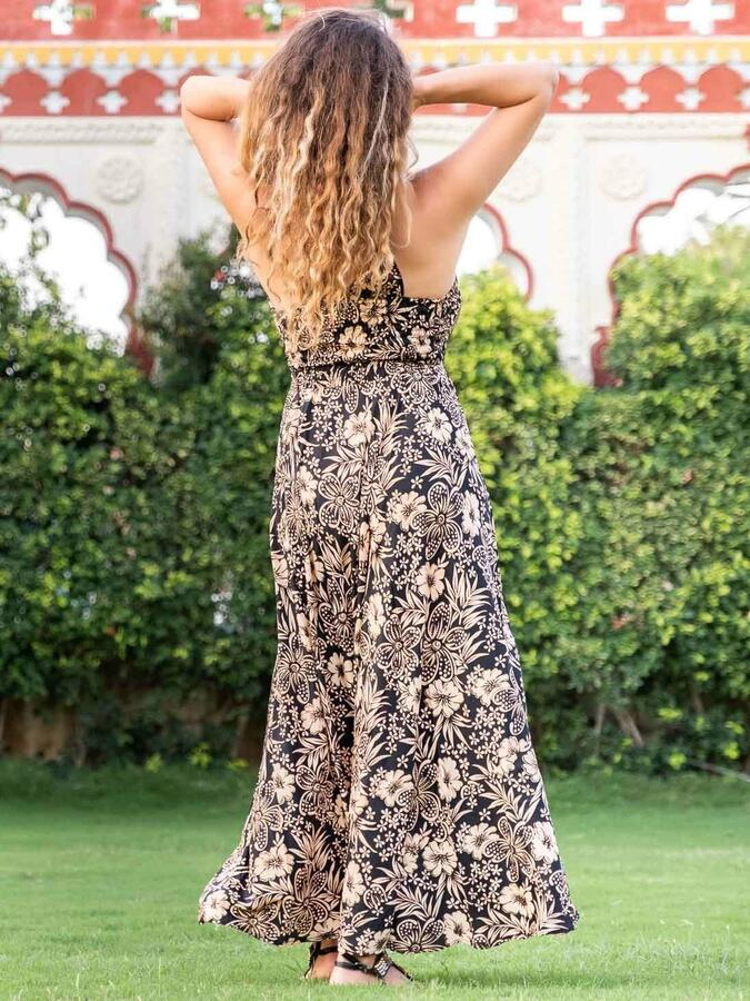 Vestito lungo Daya corpetto stile antico - nero oro