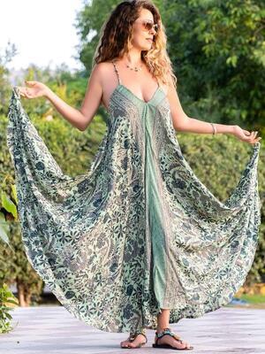 Vestito lungo Mamata a farfalla - verde oro
