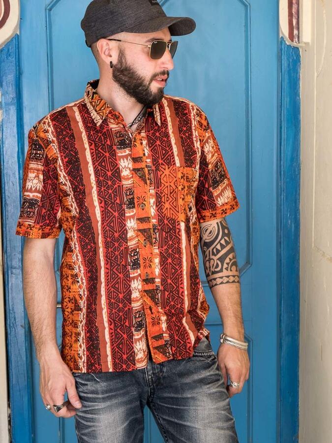 Camicia uomo Budhil manica corta - etnica arancione