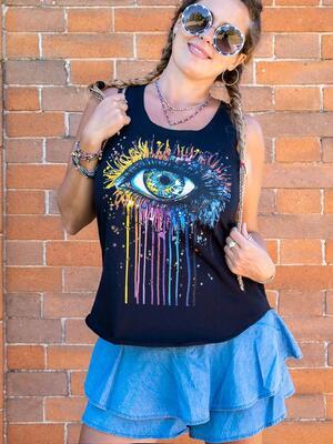 Canottiera donna Ramita nera - occhio colorato