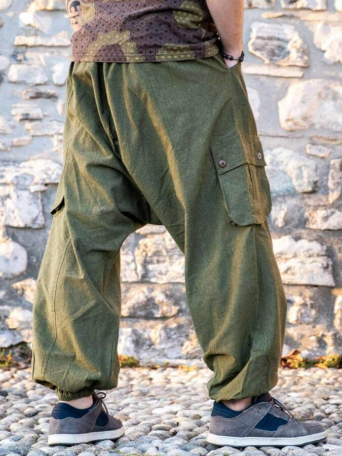 Pantalone uomo lungo Madhu cavallo basso - verde