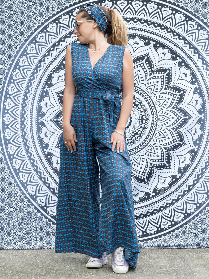 Vestito tuta donna lungo Savitri pantalone a palazzo - blu fiorato