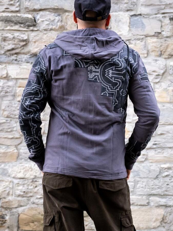 Felpa uomo Mayur chiusura zip e cappuccio - patchwork grigio