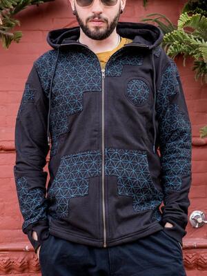 Felpa uomo Mayur chiusura zip e cappuccio - patchwork nero blu