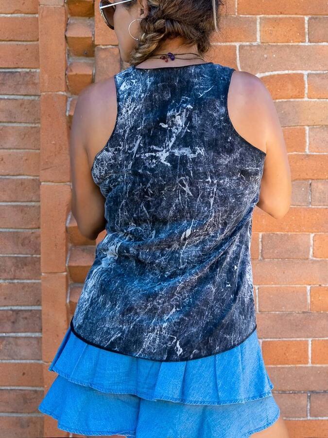 Canottiera donna Ramita nero lavato - piuma colorata