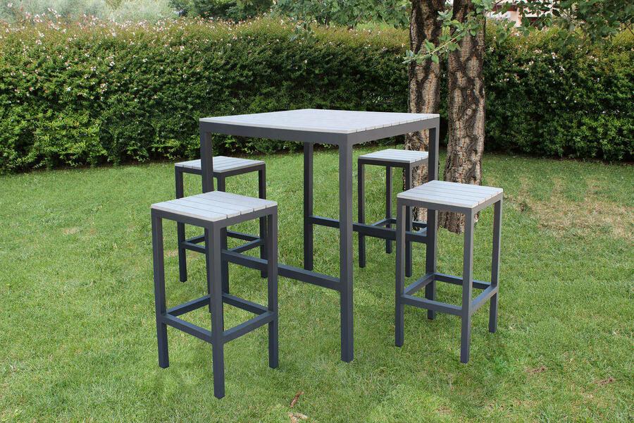 Set Bar tavolo 4 sedie alti  COMPLETO BAR SIRIUS in polywood grigio e alluminio ANTRACITE