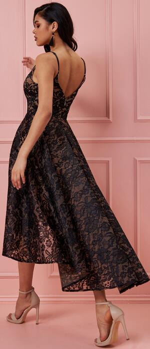 0713 SHORT LONG DRESS IN LINED LACE