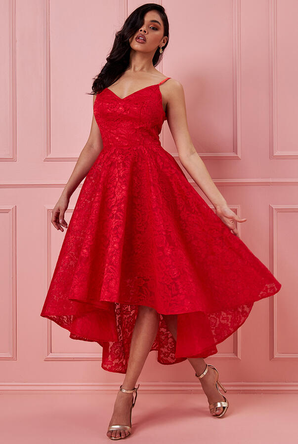 0714 SHORT RED LONG DRESS IN LINED LACE