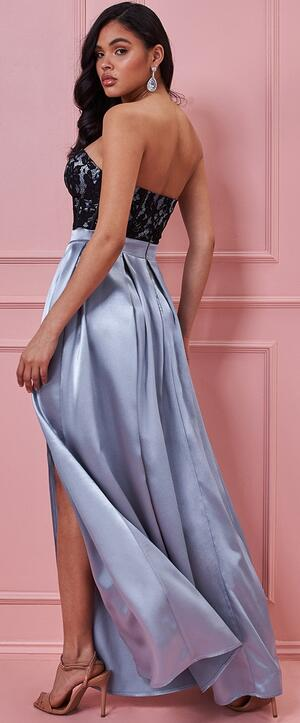 0716 SATIN DRESS WITH SIDE SLIT AND LINED LACE BODY